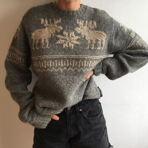 Abercrombie 100% Wool Vintage Handknit Sweater